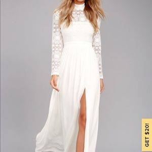 Lulu's White long sleeve maxi dress